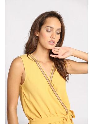 Combinaison pantalon brodee jaune or femme