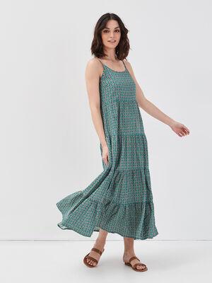 Robe longue evasee a volants vert emeraude femme