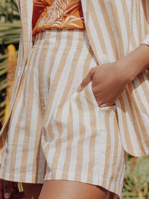 Short ample pattes boutonnees blanc femme
