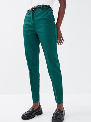 Pantalon cigarette ceinture vert emeraude femme