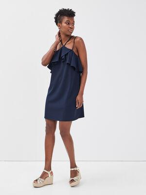 Robe droite volants bleu marine femme