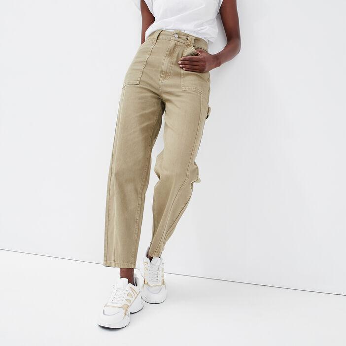 Pantalon regular gris femme