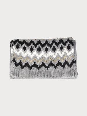 charpe tricot a motifs avec fil dore gris fonce femme