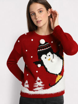 Pull pingouin rouge fonce femme