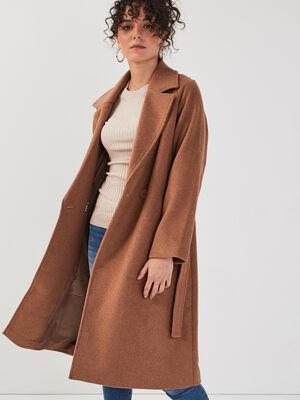 Manteau droit ceinture marron clair femme