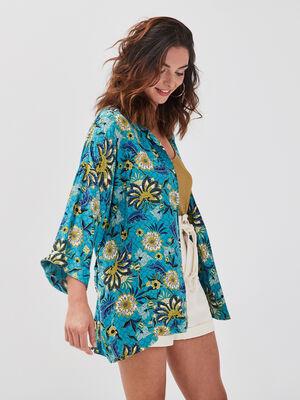 Veste kimono droite ceinturee bleu turquoise femme