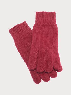 Gants tricotes rouge femme