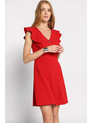 Robe evasee zippee a volants rouge femme