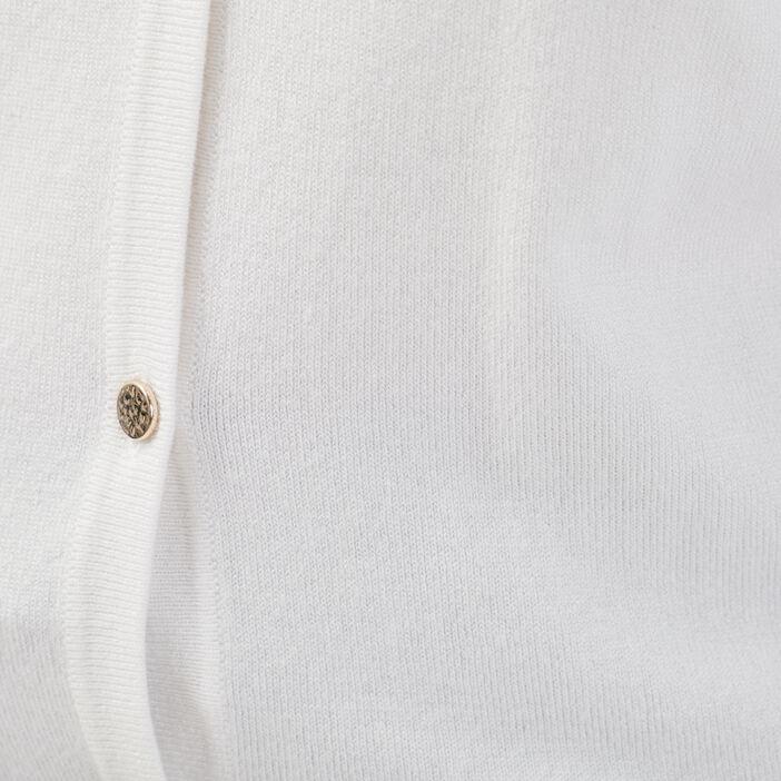Gilet manches longues boutonné blanc femme