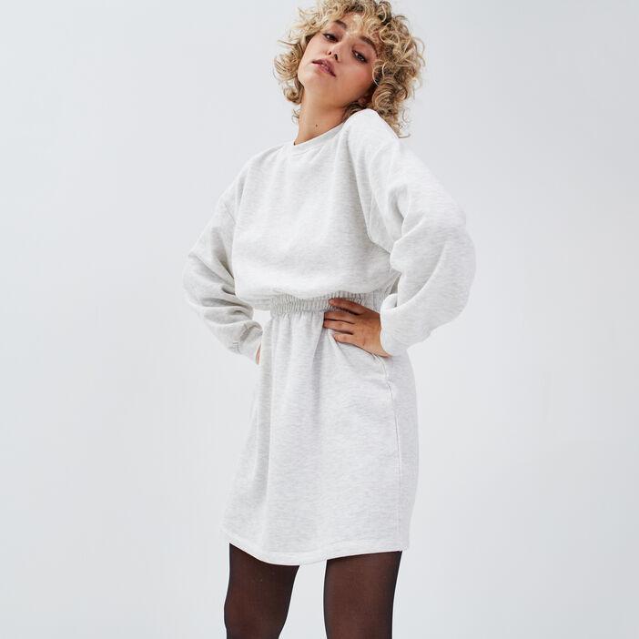 Robe droite taille élastiquée gris clair femme