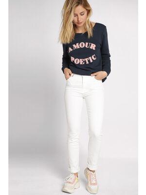 Jeans slim taille haute blanc femme