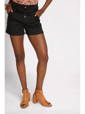 Short paper bag taille haute noir femme