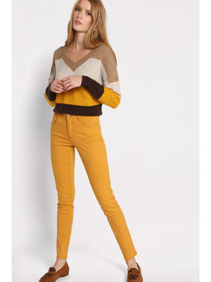 Pantalon slim 5 poches jaune moutarde femme