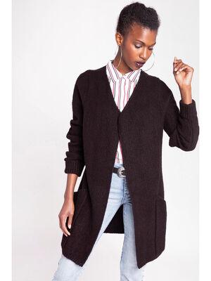 Gilet long a poches facon veste noir femme