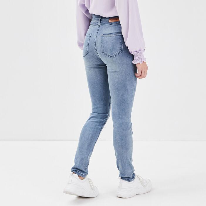 Jeans slim taille haute denim double stone femme
