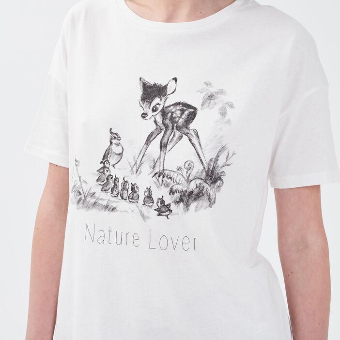 T-shirt manches courtes Bambi ecru femme
