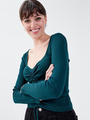 T shirt manches longues vert fonce femme