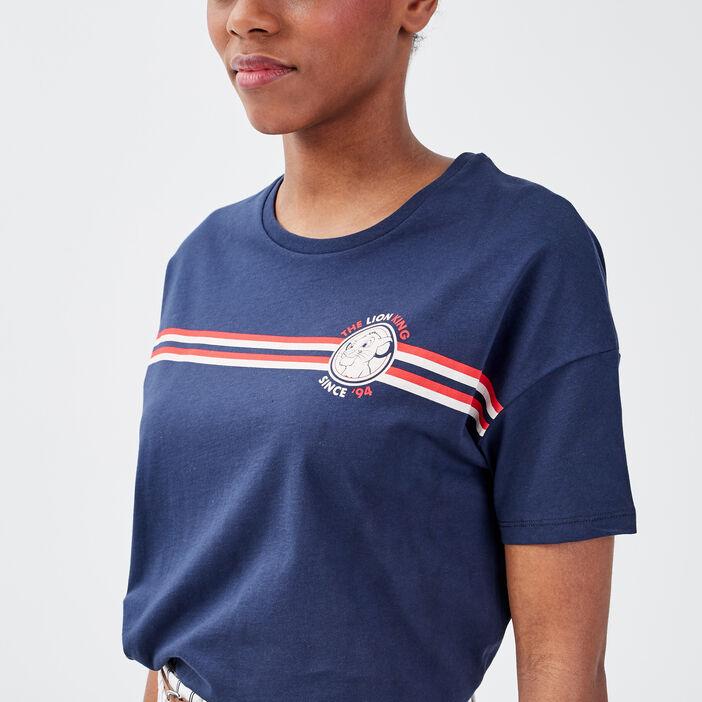 T-shirt Le Roi lion bleu marine femme