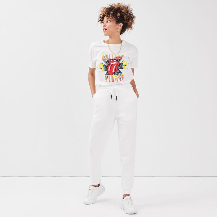T-shirt Rolling Stones ecru femme
