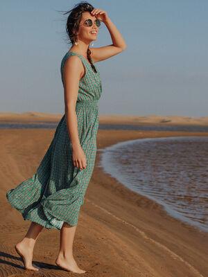 Robe longue evasee bas volante vert emeraude femme