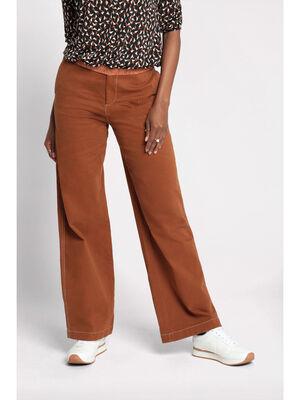 Jeans droit taille haute marron cognac femme