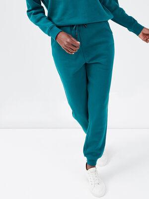 Pantalon jogging molletonne vert emeraude femme