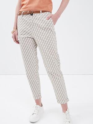 Pantalon chino ceinture blanc femme