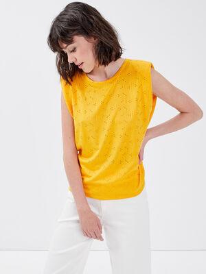 T shirt manches courtes jaune fonce femme