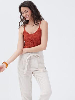 Debardeur bretelles fines orange fonce femme