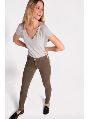 Pantalon slim 5 poches vert kaki femme