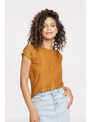 T shirt manches courtes camel femme