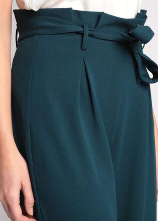 Pantalon large a ceinture bleu canard femme