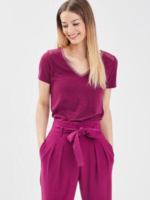 T shirt manches courtes violet fonce femme