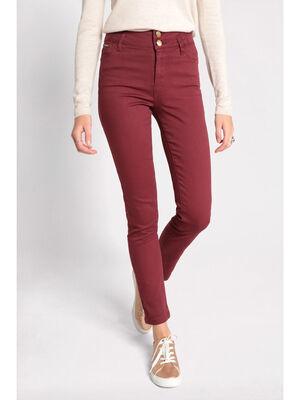 Jeans slim effet push up bordeaux femme