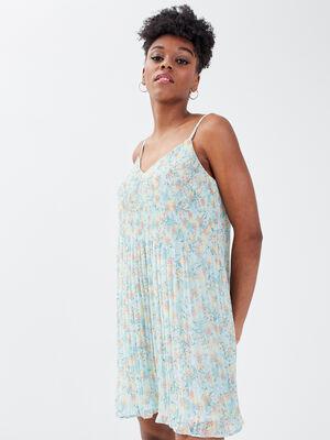 Robe droite fluide plissee bleu clair femme