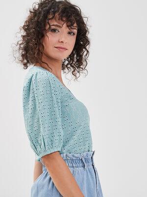 T shirt manches 34 ajoure vert clair femme