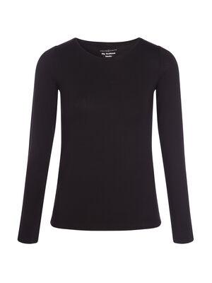 T shirt uni a manches longues noir femme
