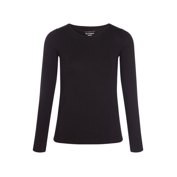 T-shirt uni à manches longues noir femme