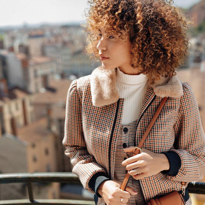 Manteau droit zippé beige femme