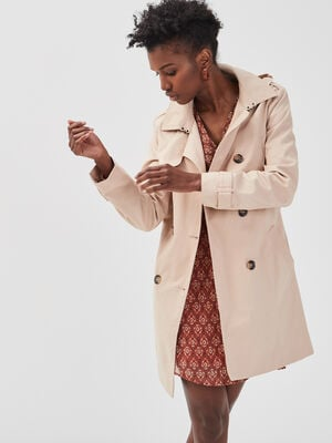 Trench mi long marron clair femme