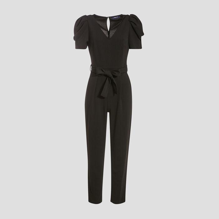 Combinaison pantalon ceinturée noir femme