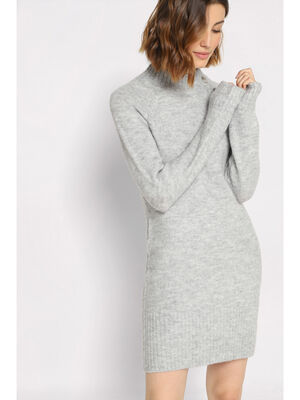 Robe cintree a boutons gris clair femme