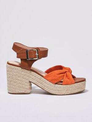 Sandales compensees orange femme