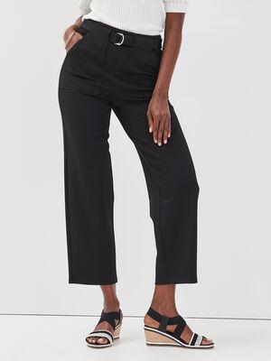 Pantalon ample ceinture noir femme