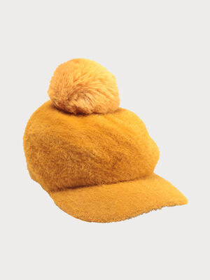Casquette fourrure avec pompon jaune moutarde femme
