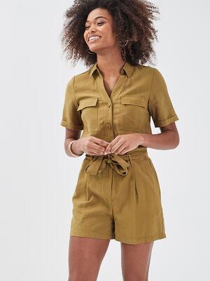 Combishort droite ceinturee vert olive femme