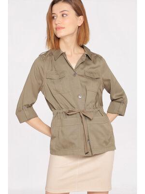 Veste fluide avec poches vert kaki femme