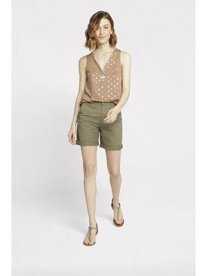 Bermuda droit taille standard vert kaki femme