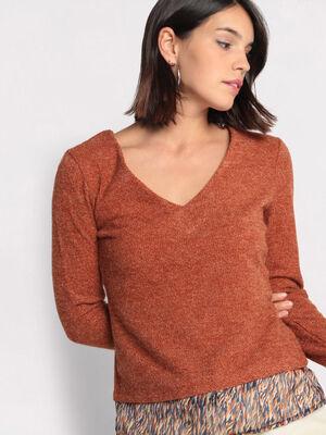 Pull dos ouvert avec noeud orange fonce femme