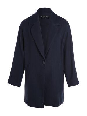 Manteau droit a col crante bleu marine femme